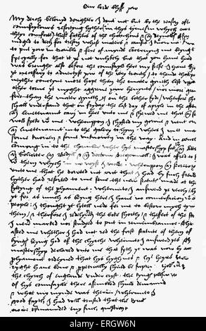 Letter from Sir Thomas More to his daughter. From the Arundel manuscript in the British Museum. TM: English lawyer, - Stock Photo