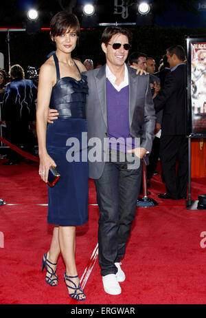 Tom Cruise and Katie Holmes at the Los Angeles premiere of 'Tropic Thunder' held at the Mann Village Theater in - Stock Photo