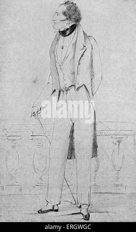 Lord Byron: 1823. Gordon Byron, 6th Baron Byron. British poet, 22 January 1788 – 19 April 1824.  From a drawing - Stock Photo