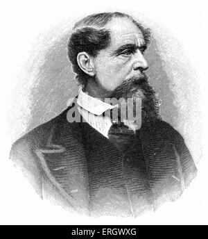 Charles Dickens:  British novelist, 1812-1870.  Engraved by J C Armytage. From a photograph taken in 1868. - Stock Photo