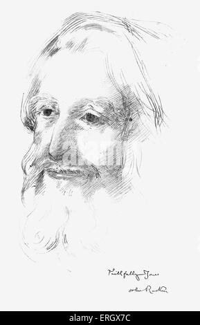 John Ruskin, English author, poet, art critic, social critic  and artist.  8 February 1819 - 20 January 1900.  Illustration - Stock Photo