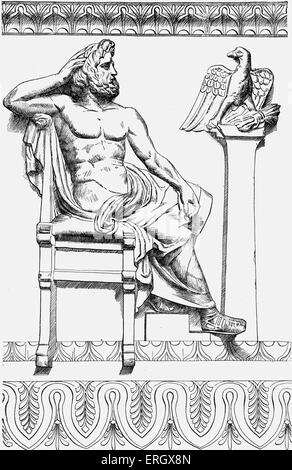 Zeus on a well-head at Naples from 'Zeus: A Study in Ancient Religion' by Arthur Bernard Cook, British archaeologist - Stock Photo