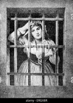Charlotte Corday at the conciergerie. Marie-Anne Charlotte Corday d'Armont, figure of the French revolution. 27 - Stock Photo