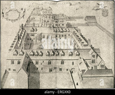 Corpus Christi College, Cambridge founded in 1352 by the Guilds of Corpus Christi and the Blessed Virgin Mary. Illustration - Stock Photo