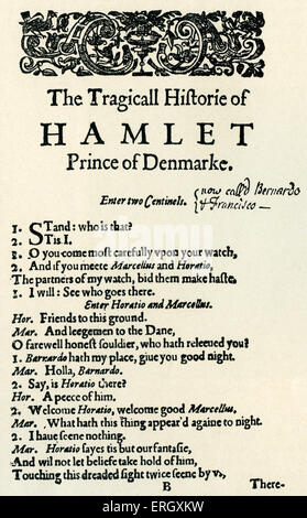 'Hamlet' : Tragedy by William Shakespeare, written c 1599 - 1601. Opening page of the first quarto. 'The Tragicall - Stock Photo