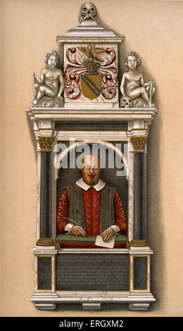 William Shakespeare - bust of the English poet and playwright at the Parish church, Stratford-on -Avon  William - Stock Photo