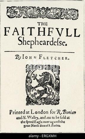 'The Faithful Shepheardesse' by John Fletcher. Title page. JF: Jacobean playwright, 1579 – 1625. - Stock Photo
