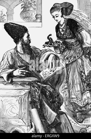 Gulliver's Travels - novel by Jonathan Swift. Part II: A Voyage to Brobdingnag. Chapter 3. The Queen of Brobdingnag - Stock Photo