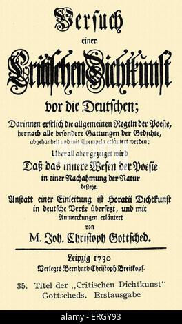 Johann Christoph Gottsched 's 'Versuch einer kritischen Dichtkunst für die Deutschen'. Title page of the first edition - Stock Photo