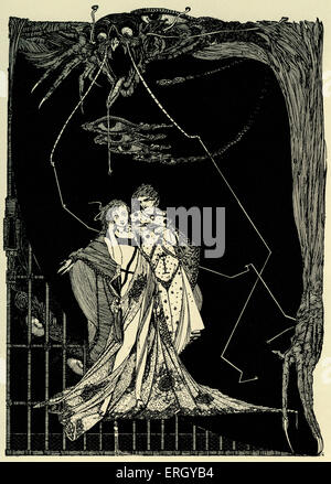 Faust by Johann Wolfgang von Goethe. Illustration by Harry Clarke. Caption reads: 'Does not Death lurk without?' - Stock Photo