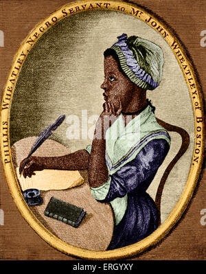 Phillis Wheatley - African/ American poet: 1753 – 5 December 1784. As illustrated by Scipio Moorhead on the front - Stock Photo