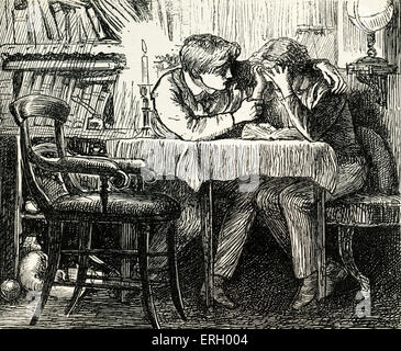 Tom Brown's School-Days, by Thomas Hughes, First published in 1857. Caption reads: 'Tom comforting  Arthur.' Illustrations - Stock Photo