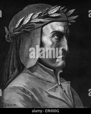 Dante Alighieri, profile portrait with laurel wreath.  Italian poet, 1265-1321. - Stock Photo