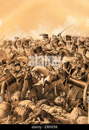 The charge of the light brigade at Balaclava led by Lord Cardigan during the Battle of Balaclava on 25 October 1854 - Stock Photo