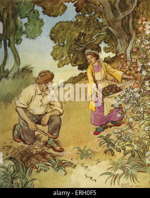 J M Barrie 'The Admirable Crichton' comedy written in 1902. Act II (The Island): Tweeny: 'Look what I found'.   - Stock Photo