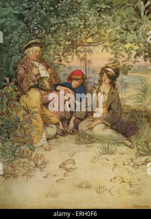 J M Barrie 'The Admirable Crichton' comedy written in 1902. Act II (The Island): Catherine: 'Father, you have boots'. - Stock Photo
