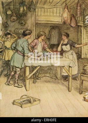 J M Barrie 'The Admirable Crichton' comedy written in 1902. Act III (The Happy Home): Tweeny signs that all is ready. - Stock Photo