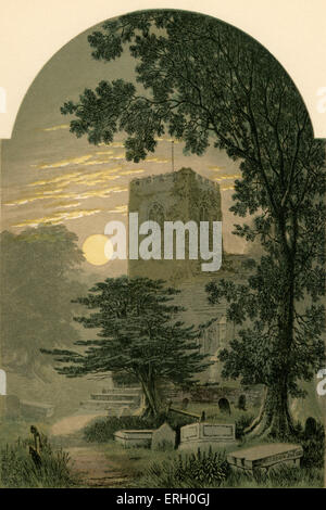 'Elegy written in a Country Churchyard', by Thomas Gray, 1751. Illustration for the verse: 'Save that, from yonder - Stock Photo