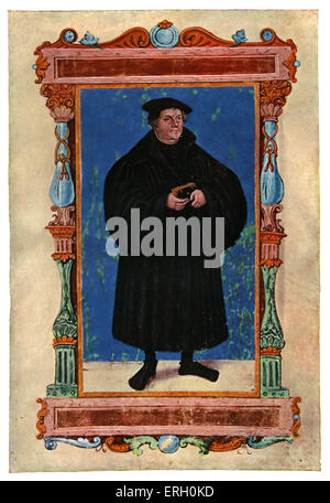 Martin Luther - illustration by Lucas Cranach the Elder. Martin Luther was a church reformer and the father of Prostestantism. - Stock Photo