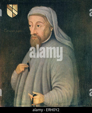 Geoffrey Chaucer portrait. English author, poet and philosopher: c 1343 – October 25, 1400.( Bodleian Library.) - Stock Photo