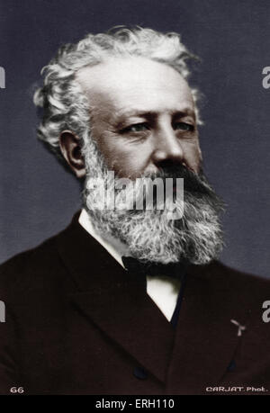 Jules Verne - Portrait. French writer. 1828-1905.  Author of 'Eighty days around the world', 'Journey to the centre - Stock Photo
