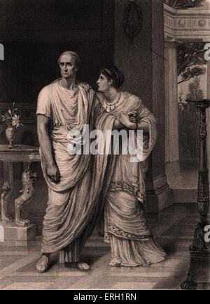 Julius Caesar (Act II Scene 2), play by William Shakespeare. Julius Caesar and Calphurnia. 'Calphurnia: ' O Caesar! - Stock Photo