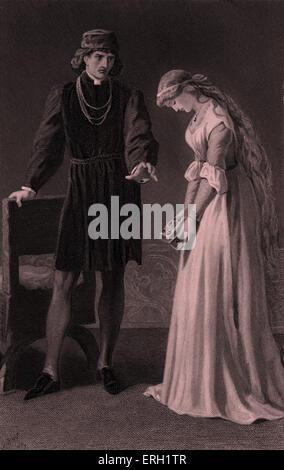 Hamlet (Act III, Scene 1), play by William Shakespeare. Hamlet and Ophelia. 'Hamlet: 'I loved you not.' Ophelia:' - Stock Photo
