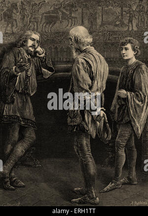 Hamlet (Act II Scene 2), play by William Shakespeare. Hamlet and the Players. 'Hamlet: I heard thee speak me a speech - Stock Photo