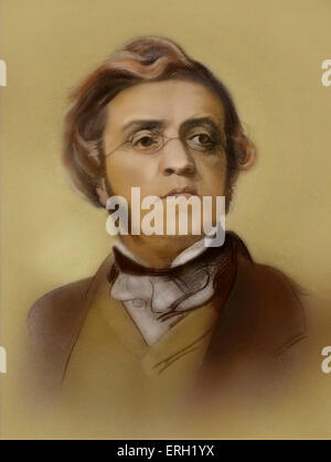 William Makepeace Thackeray - drawing by Samuel Laurence, c. 1853. English novelist,  18 July 1811 - 24 December - Stock Photo