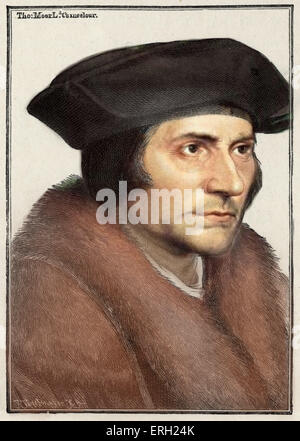 Sir Thomas More - portrait - politician - author c 1478-1535 - from Bartolossi engraving - after Holbein drawing - Stock Photo