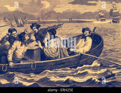 Industry and Idleness - The Idle Apprentice Sent to Sea. Engraving by William Hogarth. Tom Idle at sea, having been - Stock Photo