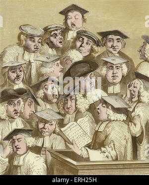 Alma Mater, (also known as 'Scholars at a Lecture'), (c 1736 / 7), engraving by William Hogarth. A professor, thought - Stock Photo