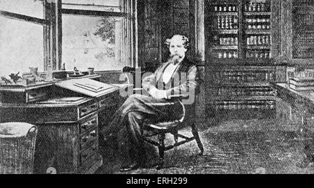 Charles Dickens portrait  in his study at Gads Hill. British novelist,  7 February 1812 - 9 June 1870. - Stock Photo