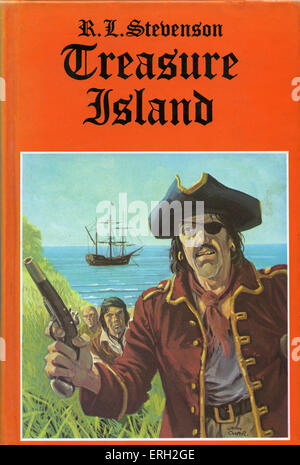 'Treasure Island' by Robert Louis Stevenson. First published as a book in 1883.  Book cover by John Cooper. RLS: - Stock Photo