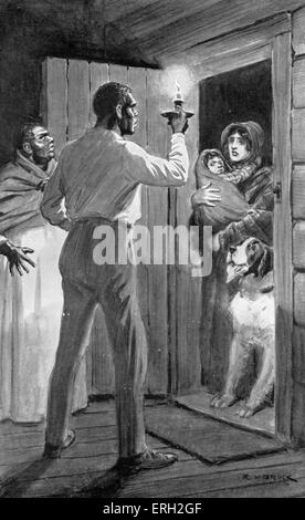 Uncle Tom 's Cabin -  written by Harriet Beecher Stowe. Caption reads ' I'm running away, Uncle Tom and Aunt Chole - Stock Photo