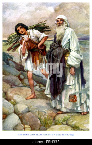 Isaac - caption reads, 'Abraham and Isaac going up the mountain.' Genesis chapter 22: Abraham prepares to sacrifice - Stock Photo