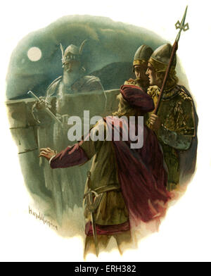 Horatio sees the ghost of the King of Denmark in the play Hamlet, Prince of Denmark by William Shakespeare. Act - Stock Photo