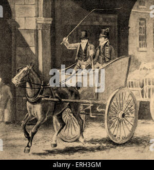 Horse and cart - illustration from 'Post Boy to Air Mail' by G. Gibbard Jackson., 1930. Caption reads: 'Mail cart - Stock Photo