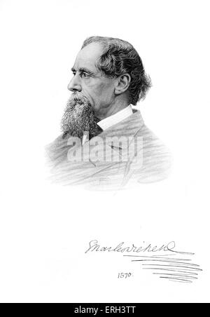 Charles Dickens portrait - 1870.    British novelist,  7 February 1812 - 9 June 1870. - Stock Photo