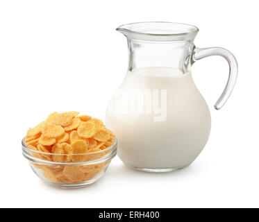Corn flakes and jug of milk isolated on white - Stock Photo