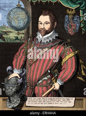 Sir Francis Drake - portrait of the English navigator, sailor and politician. c. 1540 – 28 January 1596. Colourised - Stock Photo
