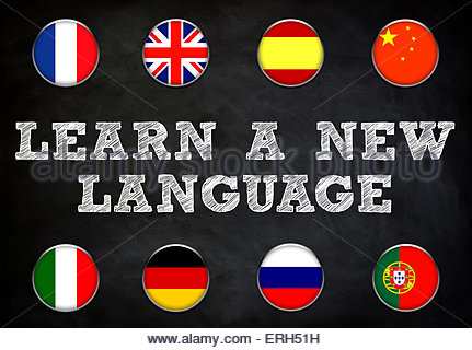 Learn a new language - blackboard illustration - Stock Photo