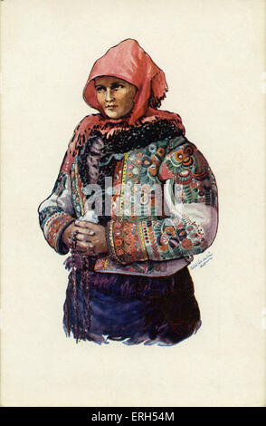 Hungarian peasant woman in traditional clothing with headscarf and embellished jacket. - Stock Photo