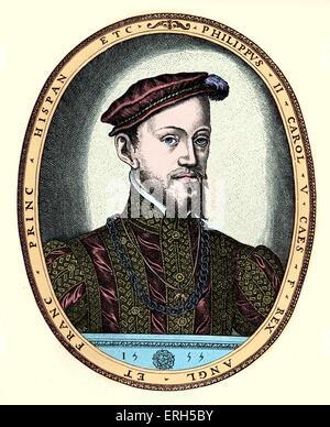 Philip II of Spain - portrait.  Engraving by F. Hogenburg, 1555. 21 May 1527 – 13 September  1598.  Felipe II. Colourised - Stock Photo