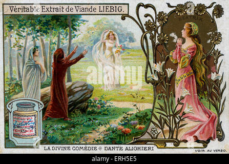The Divine Comedy by Dante Alighieri - illustration on Liebig meat extract collectible card. Scene showing Dante - Stock Photo