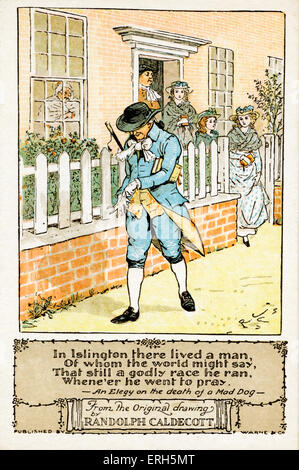 An Elegy on the Death of a Mad Dog illustrated by Randolph Caldecott, based on the original poem by Oliver Goldsmith. - Stock Photo