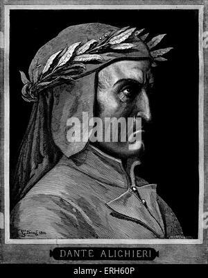 Dante Alighieri, profile portrait with laurel wreath.  Caption with name. Italian poet, 1265-1321. - Stock Photo