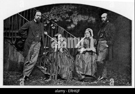 Rossetti family - after photograph taken by Lewis Carroll. From left to right: Dante Gabriel, Christina, Frances - Stock Photo