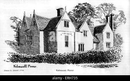 Kelmscott Manor, home of William Morris, who founded the Kelmscott press in January 1891. Drawing by Stewart Acton. - Stock Photo