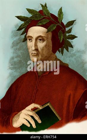 Dante Alighieri, typical portrait with laurel wreath, and book in his hand. Engraving. Italian poet, 1265-1321. - Stock Photo
